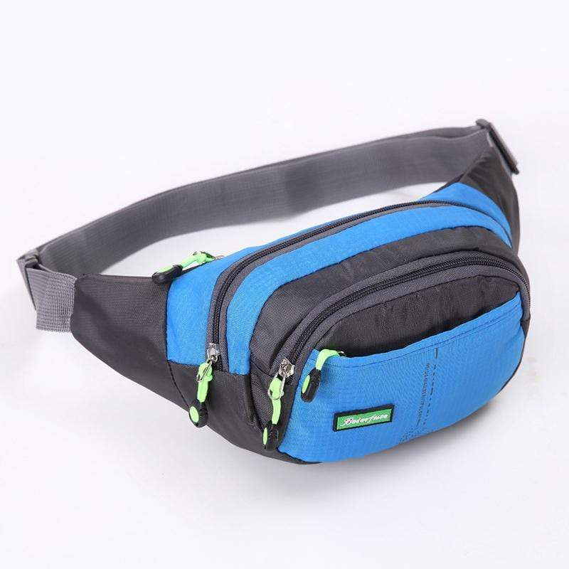 Obangbag Blue Men Large Capacity Multi Pockets Sports Multifunction Outdoors Nylon Waterproof Fanny Pack