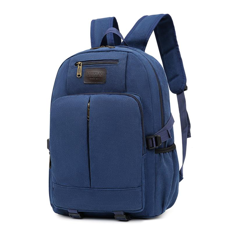 Obangbag Blue Men Outdoor Large Capacity Multi Pockets Multifunction Travel Canvas Backpack Bookbag for School