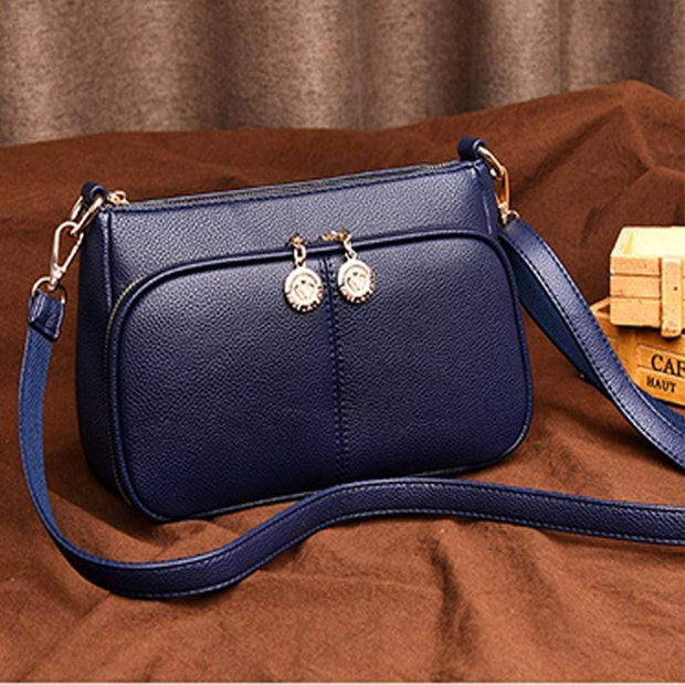 Obangbag Blue Minimalistic Design Multi-layer Zipper Sling Shoulder Bag