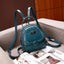 Obangbag Blue Multi Function Multi Pockets Women Small Retro Leather Backpack