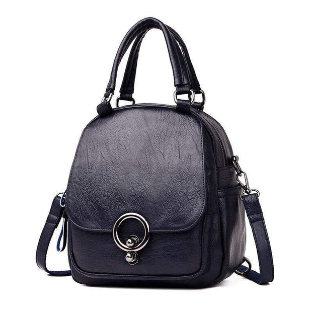 Obangbag Blue Multi Function Soft Leather Classical Retro Vintage Backpack Travel Bag Crossbody Bag