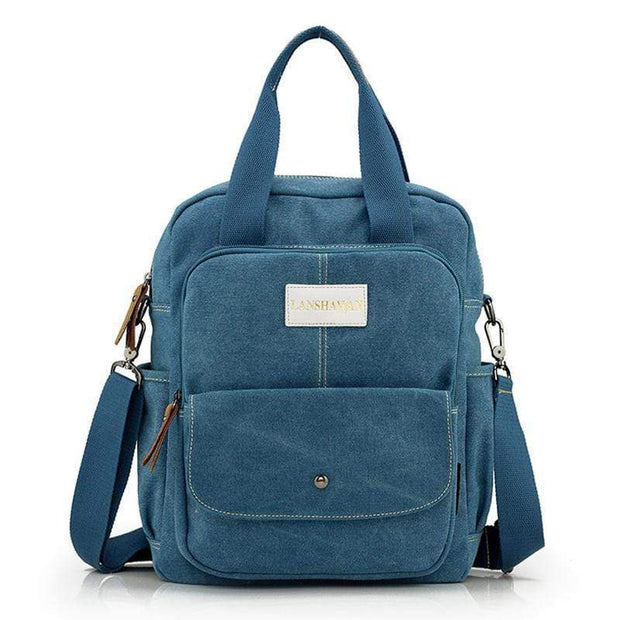 Obangbag Blue Multi Function Unisex Canvas Messenger Bag Backpack