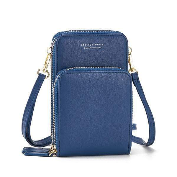 Obangbag Blue Multi-Pocket Multi Layer Mini Crossbody Phone Bag