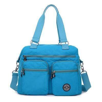 Obangbag Blue Multi Pockets Big Cloth Tote Bag Waterproof Teacher School Shoulder Bag