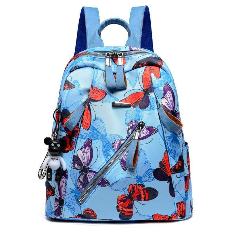 Obangbag Blue+Red Women Chic Printed Multi Pockets Large Capacity Daily Oxford Backpack for Travel