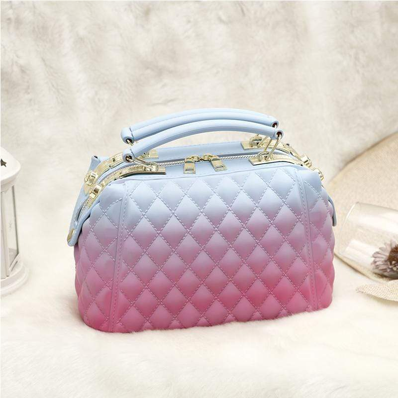 Obangbag Blue+Rose Red Women Stylish Street Large Capacity Roomy Colorful PVC Handbag Jelly Bag