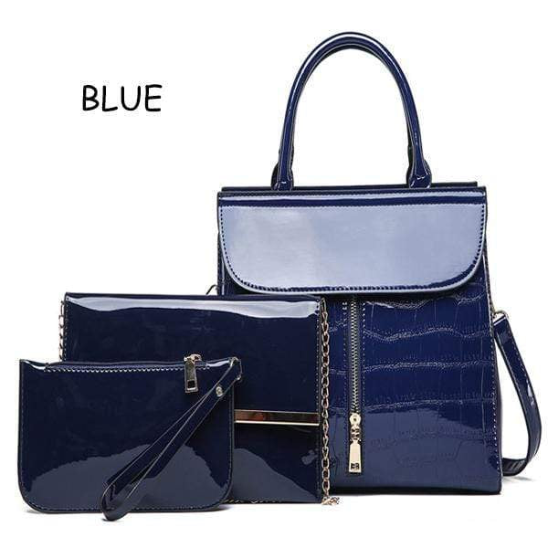Obangbag blue Shiny Leather 3 Pieces Bag Set Big Capacity Work Tote Bags