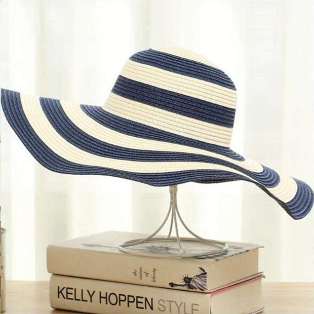 Obangbag Blue Striped Sun Hat Women Overflowed Floppy Sun hats