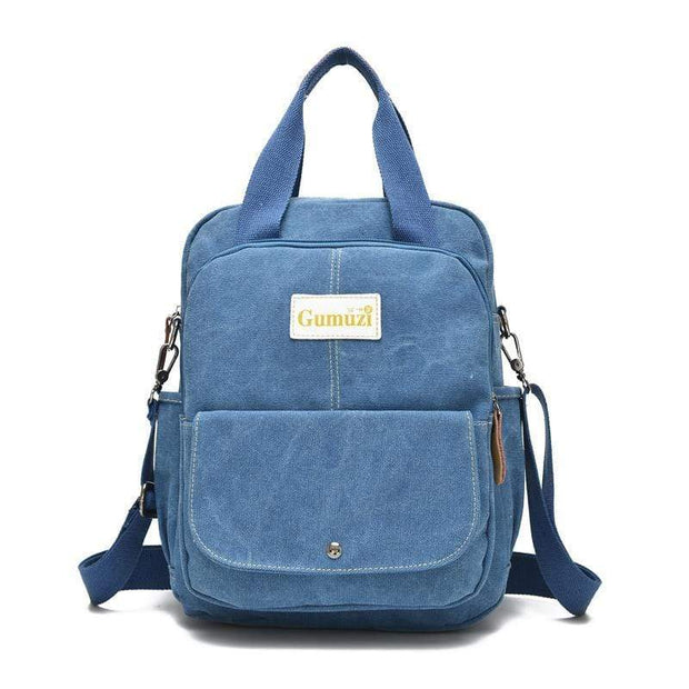 Obangbag Blue Unisex Multi Funciton Retro Canvas Messenger Shoulder Bag Backpack