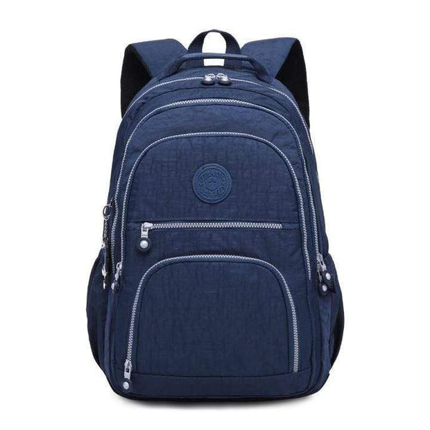 Obangbag Blue Waterproof Travel Backpack Multi Pocket Washed School Bag