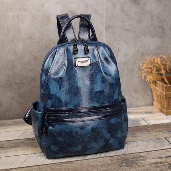 Obangbag Blue Woman retro leaf pattern oil wax skin large capacity multi-purpose backpack