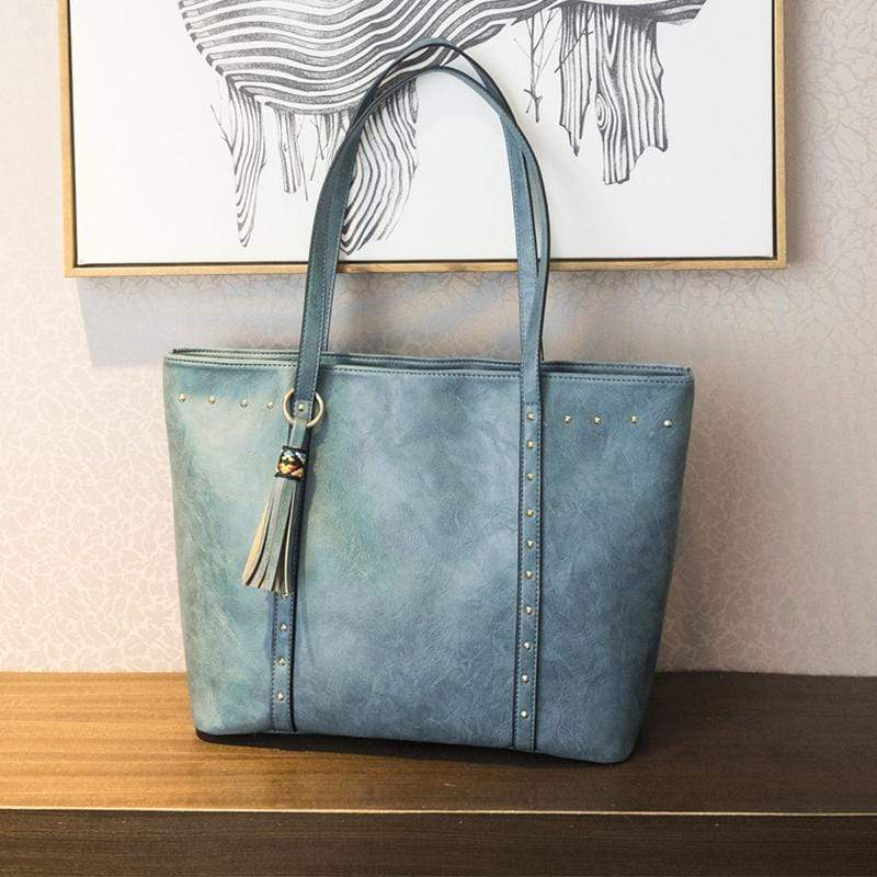Obangbag Blue Women Big Vintage Professional Large Capacity Lightweight Leather Tote Bag