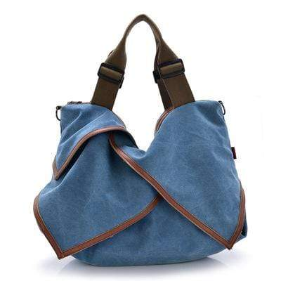 Obangbag Blue Women Canvas Travel Outdoor Shoulder Bag Multi Pocket Large Handbag