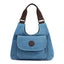 Obangbag Blue Women Casual Simple Multi Pockets Large Capacity Canvas Tote Bag Handbag Sling Bag for Work