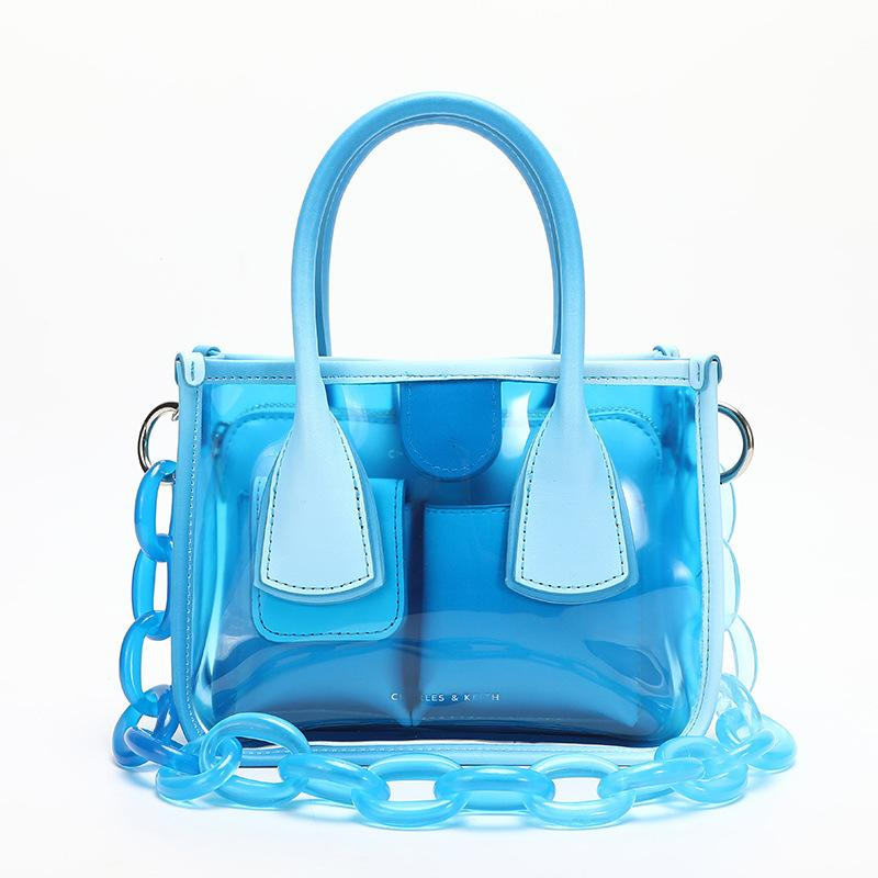 Obangbag Blue Women Chic Cute Lightweight Colorful Transparent Clear Plastic Handbag Crossbody Bag Bag Set