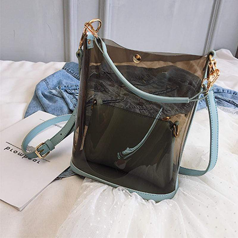 Obangbag Blue Women Chic Street Big Large Capacity Transparent Clear PVC Plastic Handbag Shoulder Bag Crossbody Bag