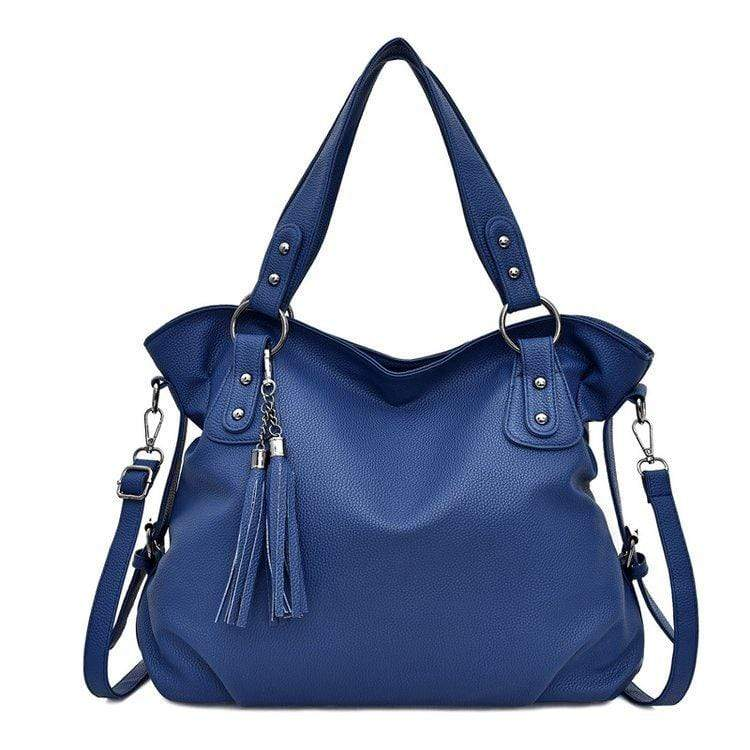 Obangbag Blue Women Chic Stylish Big Professional Large Capacity PU Leather Handbag Shoulder Bag Crossbody Bag for Work