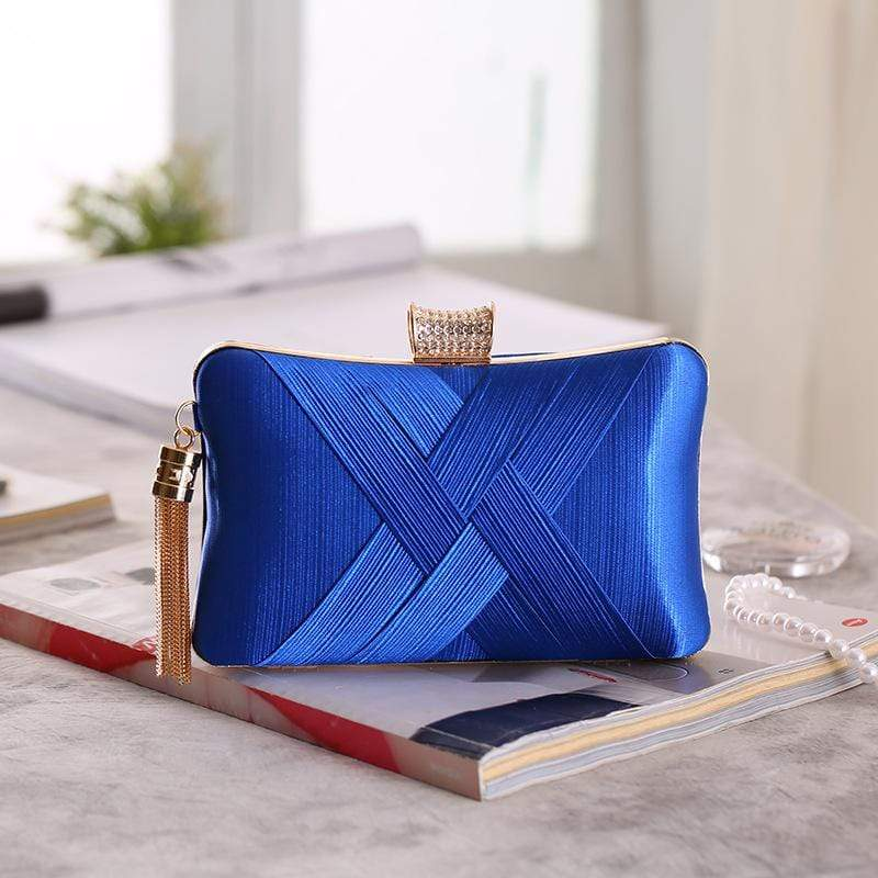 Obangbag Blue Women Chic Stylish Fringed Polyester Evening Purse Clutch Bag