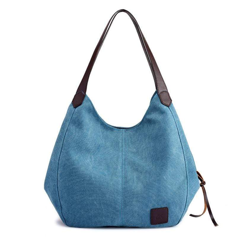 Obangbag Blue Women Chic Vintage Roomy Multi Pockets Canvas Handbag Shoulder Bag