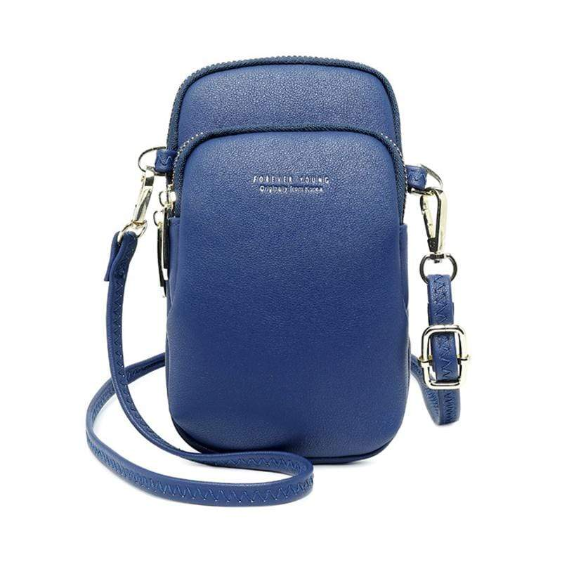 Obangbag Blue Women Cute Chic Roomy Lightweight Portable Multifunction Leather Phone Bag Crossbody Bag