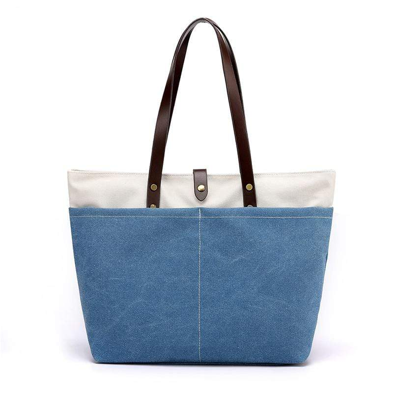 Obangbag Blue Women Daily Casual Large Capacity Lightweight Canvas Handbag Tote Bag Shoulder Bag