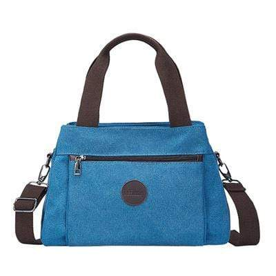 Obangbag Blue Women Fashion Canvas Multi Pocket Handbag Shoulder Bag Crossbody Bag