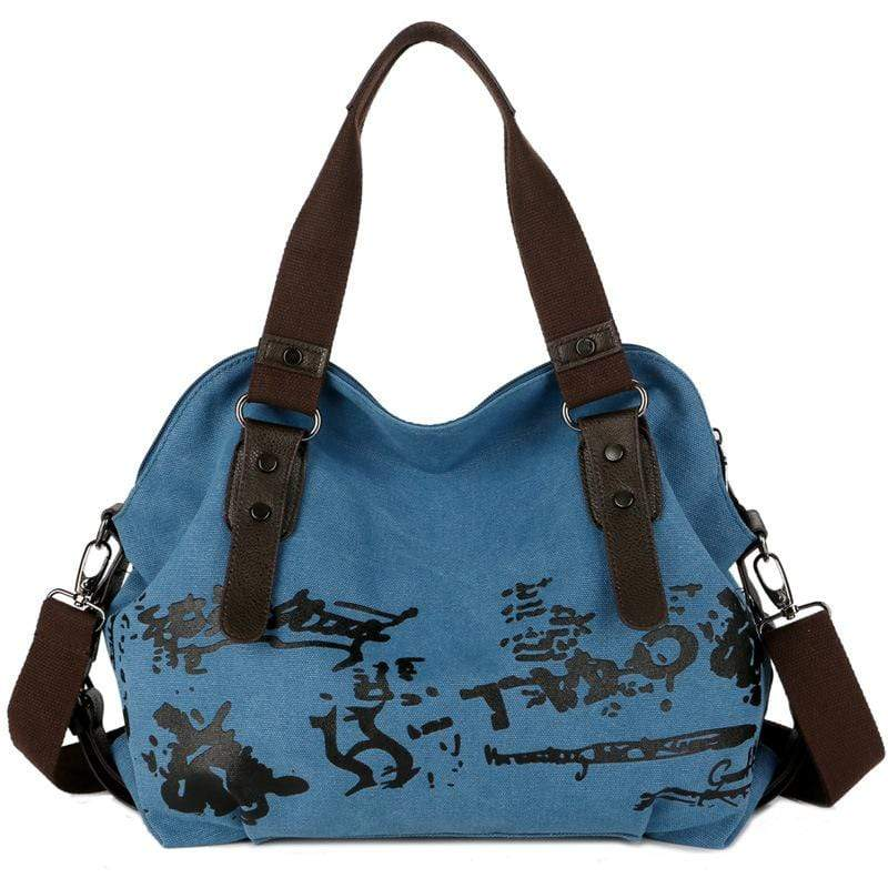 Obangbag Blue Women Fashion Large Capacity Printed Canvas Crossbady Bag Handbag