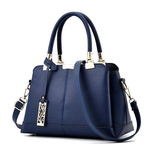 Obangbag Blue Women Fashion Work Large Capacity Leather Tote Bag Shoulder Bag