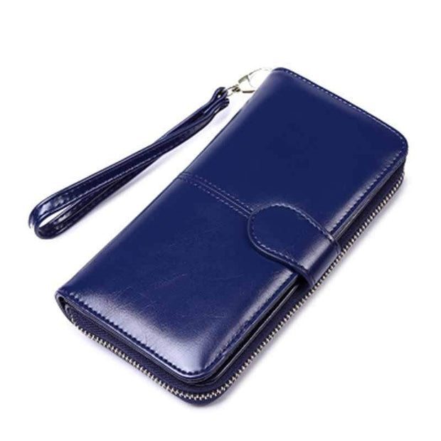 Obangbag Blue Women Faux Leather  Long Clutch Bag Wallet Card Holder