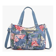 Obangbag Blue Women Floral Print Multi Pockets Big Capacity Teacher Cloth Tote Bag