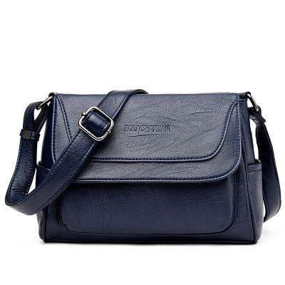 Obangbag Blue Women Genuine Leather Soft Shell Female Bag Small Bag Envelope Bag Shoulder Bag
