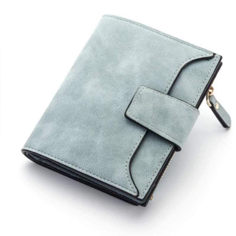 Obangbag Blue Women Leather Wallets Cards Holders Coin Pocket Purse