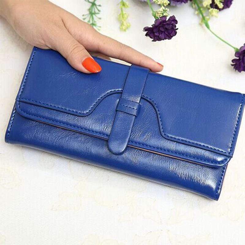 Obangbag Blue Women Retro Chic Multi Pockets Lightweight Leather Clutch Purse Long Wallet