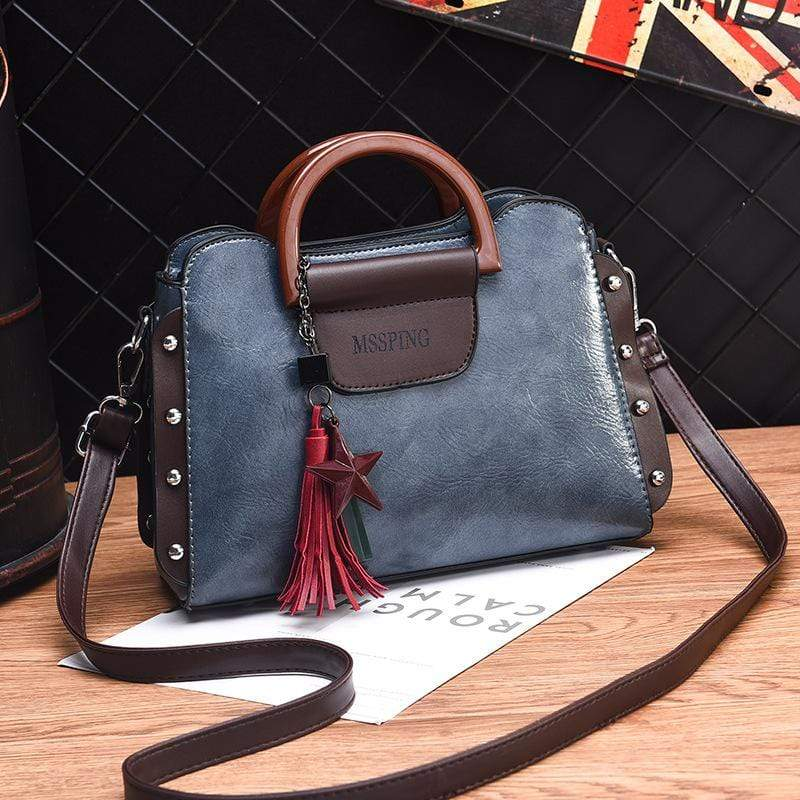 Obangbag Blue Women Retro Stylish Tassel Leather Handbag Crossbody Bag
