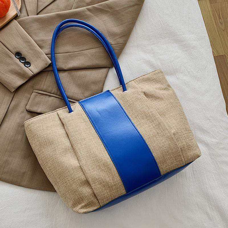 Obangbag Blue Women Simple Daily Large Capacity Lightweight Linen Tote Bag Handbag