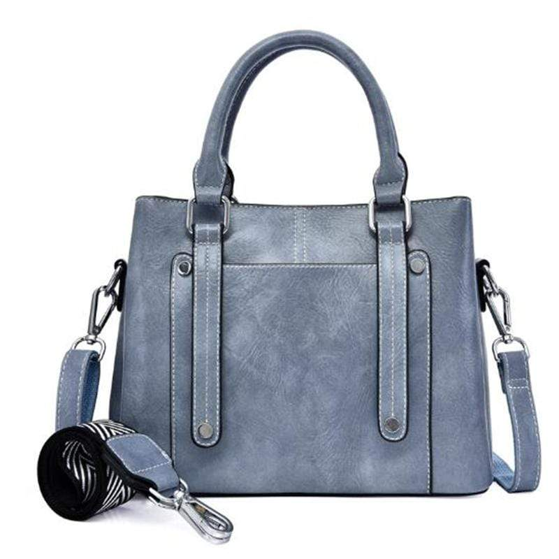 Obangbag Blue Women Simple Vintage Big Large Capacity PU Leather Handbag Crossbody Bag