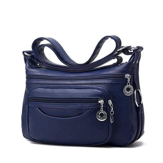 Obangbag Blue Women Soft Leather Large Capacity Multifunction Crossbody Bag Shoulder Bag