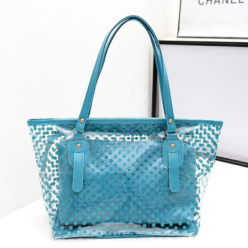 Obangbag Blue Women Stylish Street  Large Capacity Clear Transparent Plastic PU Leather Tote Bag Shoulder Bag Bag Set
