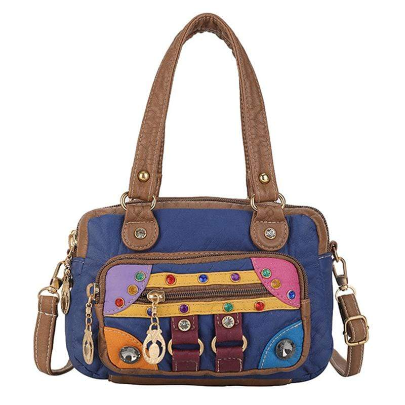 Obangbag Blue Women Vintage Cute Chic Roomy Lightweight Soft Leather Handbag Crossbody Bag