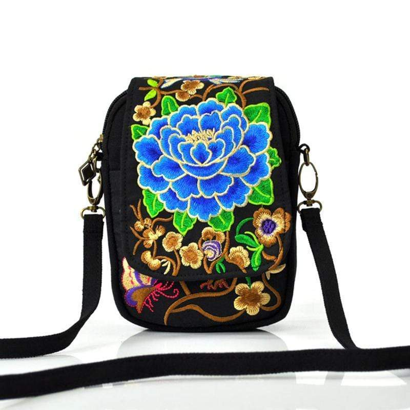 Obangbag Blue Women Vintage Cute Mini Stylish Embroidery Canvas Phone Bag  Crossbody Bag Shoulder Bag