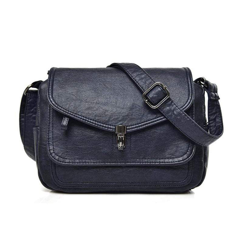 Obangbag Blue Women Vintage Elegant Roomy Multi Pockets Professional Soft Leather Crossbody Bag