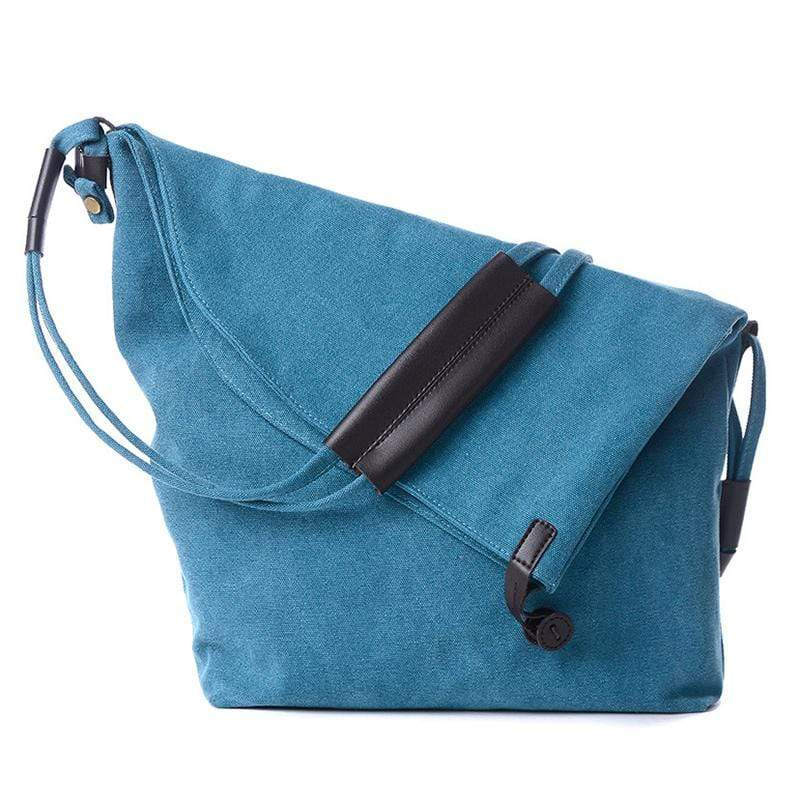 Obangbag Blue Women Vintage Fashion Simple Large Capacity Multifunction Canvas Shoulder Bag Crossbody Bag for School