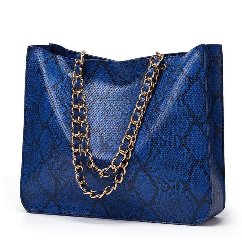 Obangbag Blue Women Vintage Large Capacity Lightweight Multifunction Snake Skin Pattern Leather Handbag Shoulder Bag Chain Bag