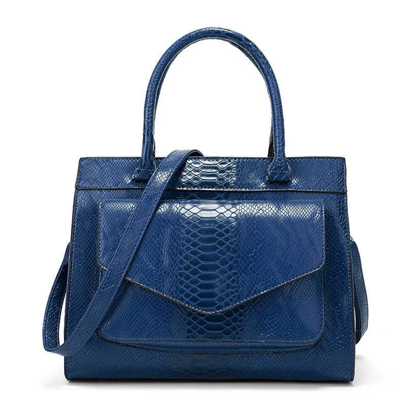 Obangbag Blue Women Vintage Large Capacity Multi Pockets Snake Skin Pattern Leather Boston Bag Handbag Crossbody Bag