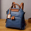 Obangbag Blue Women Vintage Multi Pockets Colorful Leather Backpack Shoulder Bag