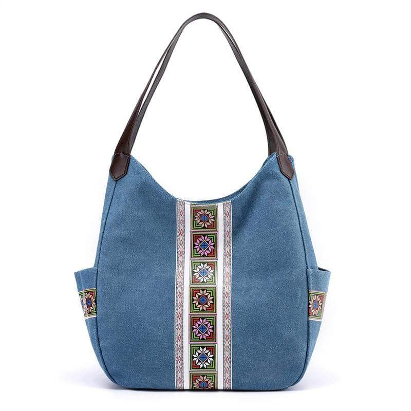 Obangbag Blue Women Vintage Multi Pockets Multi Layers Printed Roomy Canvas Tote Bag Handbag
