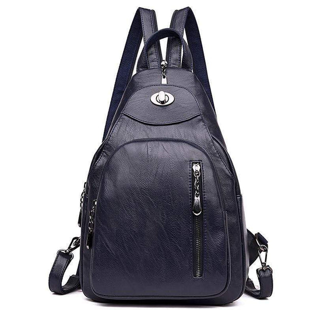 obangbag Blue0 Women Wild Casual Backpack Multifunctional Leather Backpack