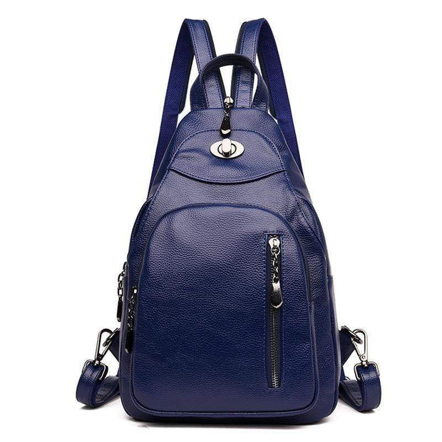 obangbag Blue1 Women Wild Casual Backpack Multifunctional Leather Backpack