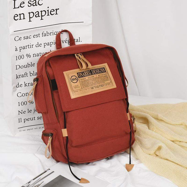 Obangbag Brick red Canvas Stitching Multi Pocket Unisex Work Backpack