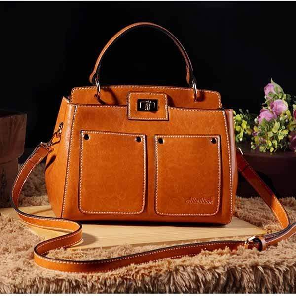Obangbag brown Big Capacity Fashion Teacher Tote Bags Soft Leather Shoulder Bags